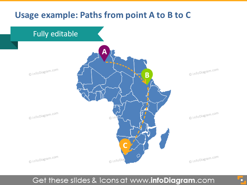Africa Map PPTX symbol Morocco Egypt Flight Water Transport