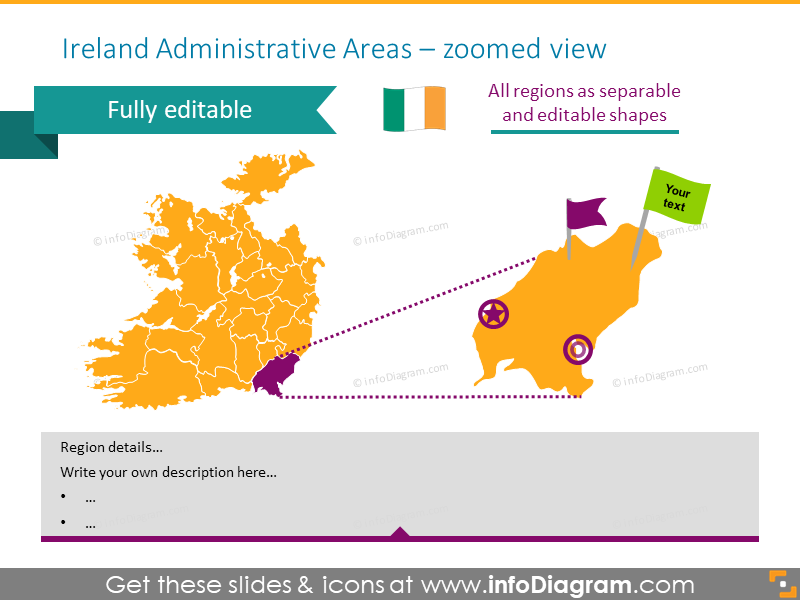 Zoomed map of Ireland with administrative areas