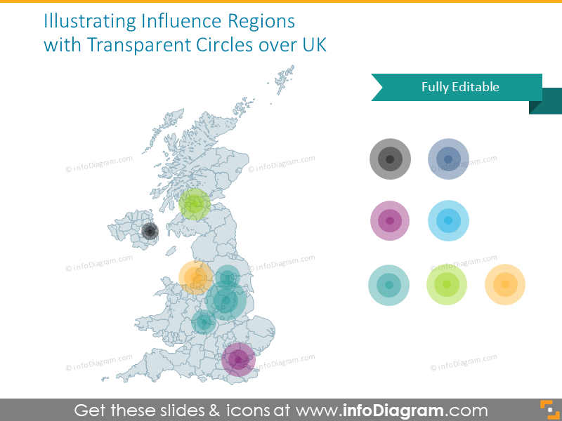 Influence UK regions map illustrated with transparent circles