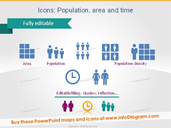 map icon country area population density powerpoint