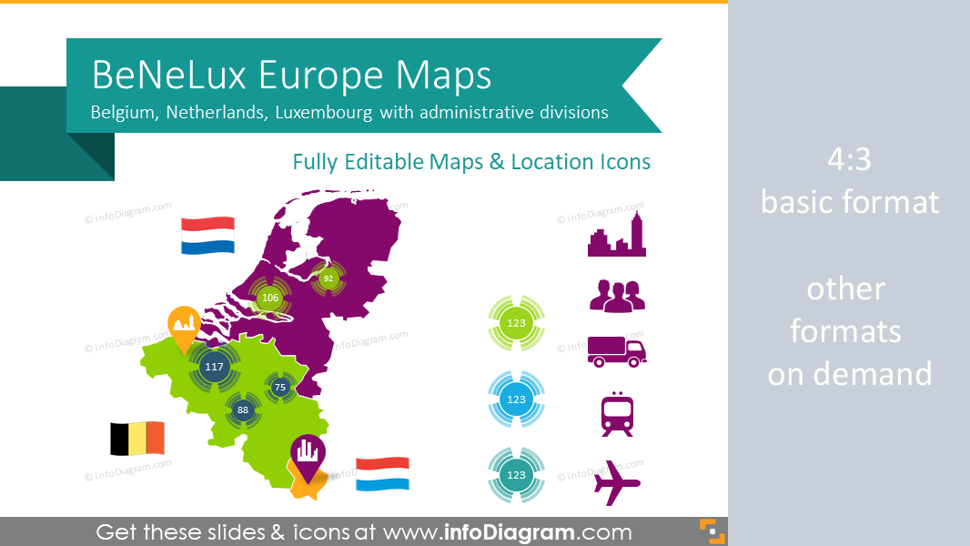 benelux europe maps with administrative territories ppt editable