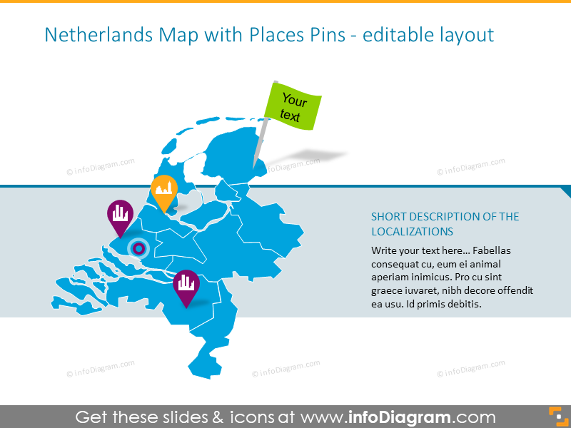 Example of the Netherlands map with places pins