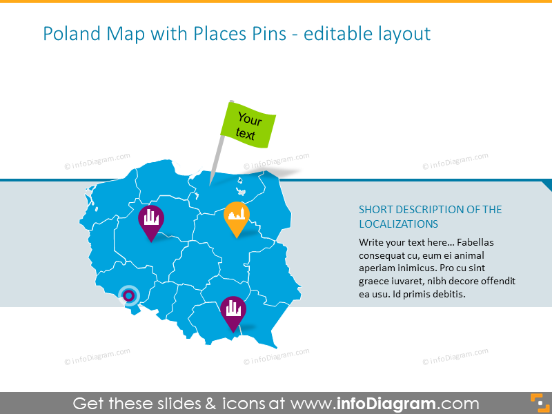 Example of the Poland map illustrated with places pins
