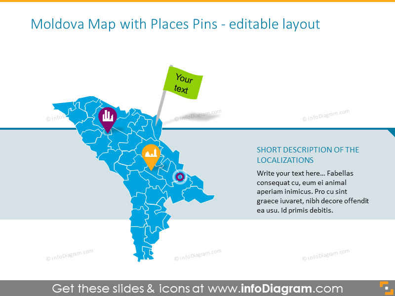 Moldova Map with Places Pins