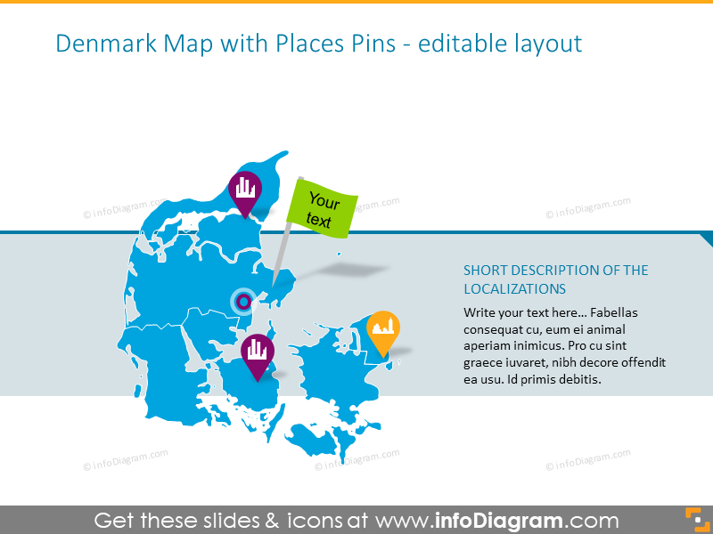 Denmark map illustrated with places pins