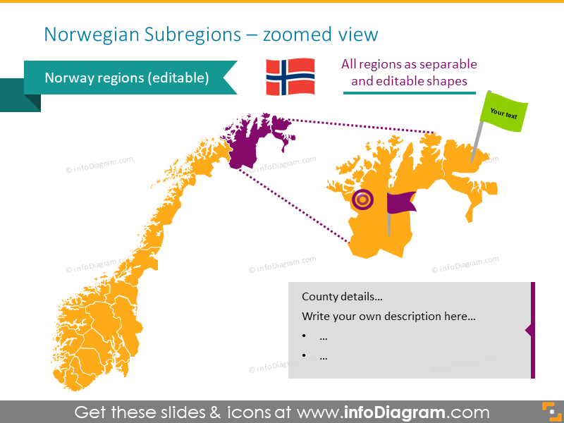 Norwegian subregions zoomed ppt map