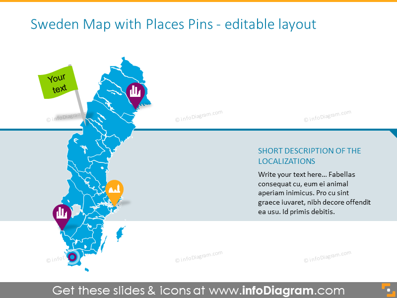 Sweden zoomed map with places pins