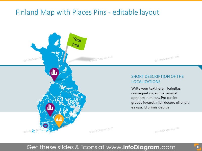 Finland map with places pins