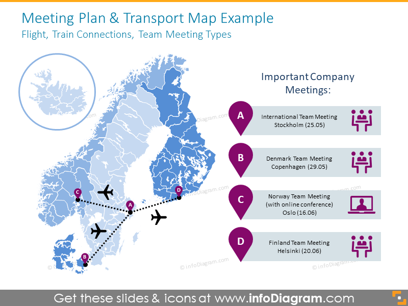 Transport Northern Europe transport map with meeting plan