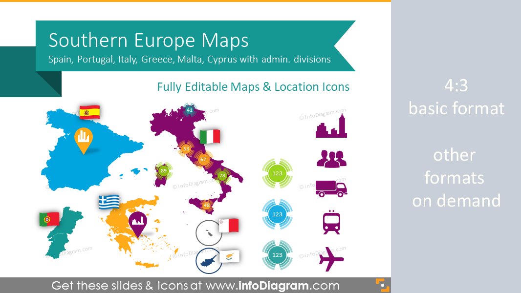 Spain Italy Maps South Europe Ppt Editable Greece Portugal Regions