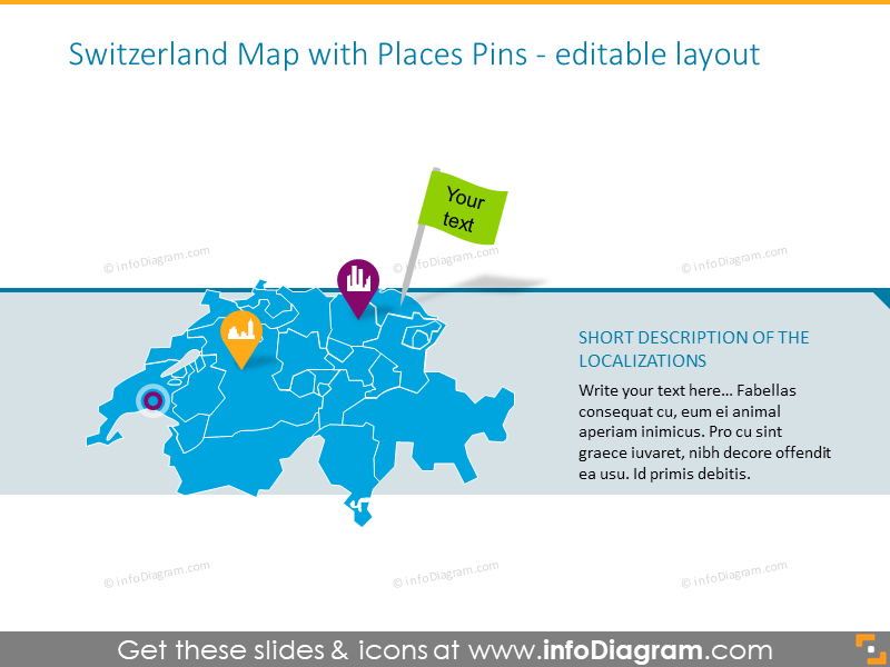 Switzerland map with places pins
