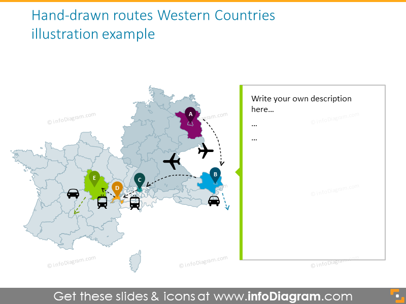 Western countries map with hand drawn routes