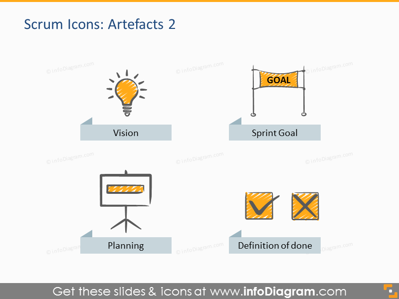 Spring goal planning Scrum vision icon powerpoint