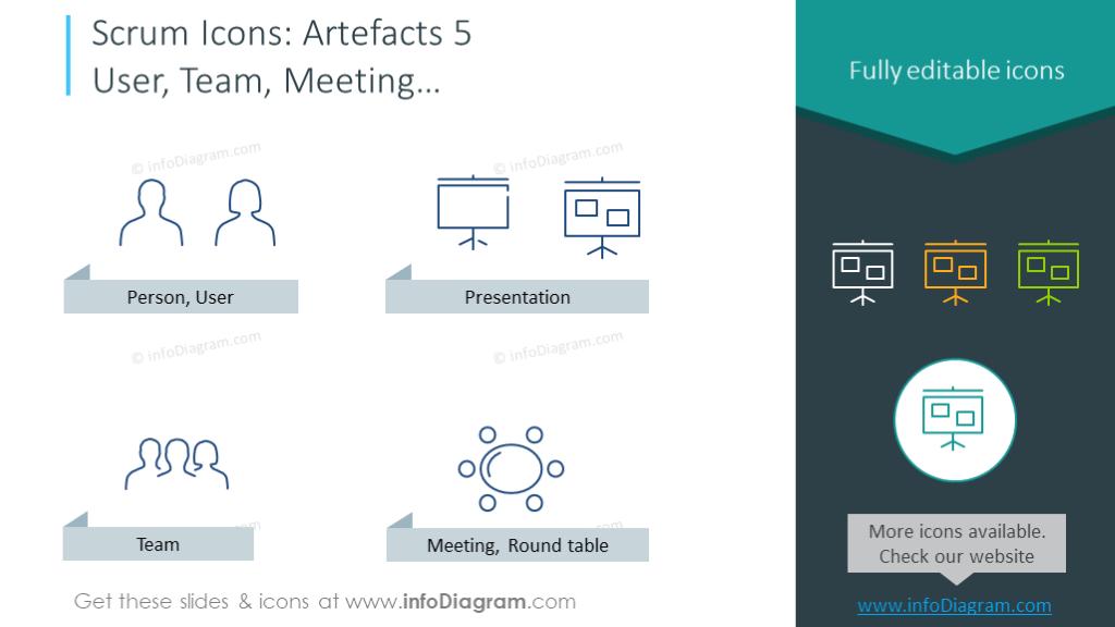 Scrum symbols set: person, user, presentation, team, meeting