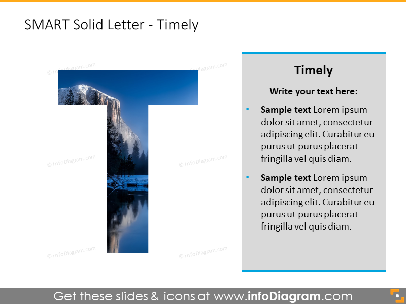 SMART goals template (PPT diagrams)