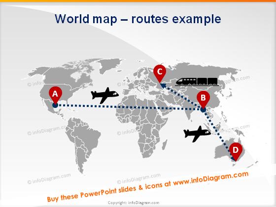 world map supply chain routes plane train pptx clipart