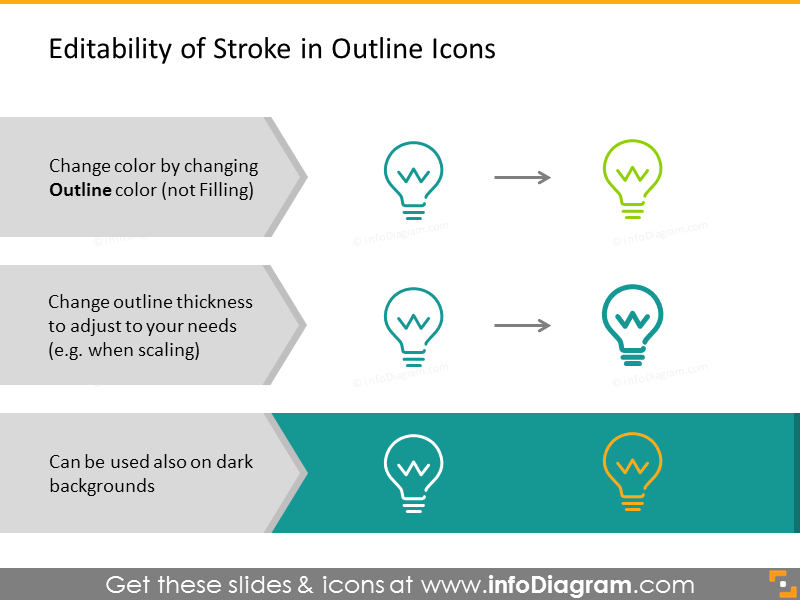 Example of editability of outline Icons