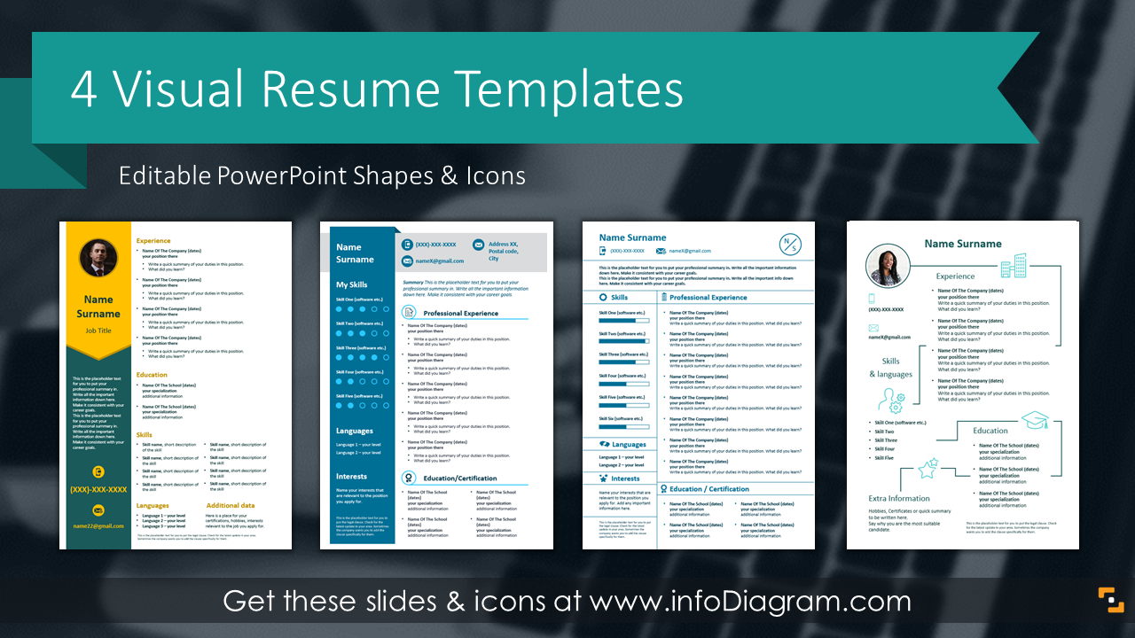 Get 4 Resume Professional Cv Templates Slides Skills Cover Motivational Letter Reference Self Presentation 88 Ppt Icons