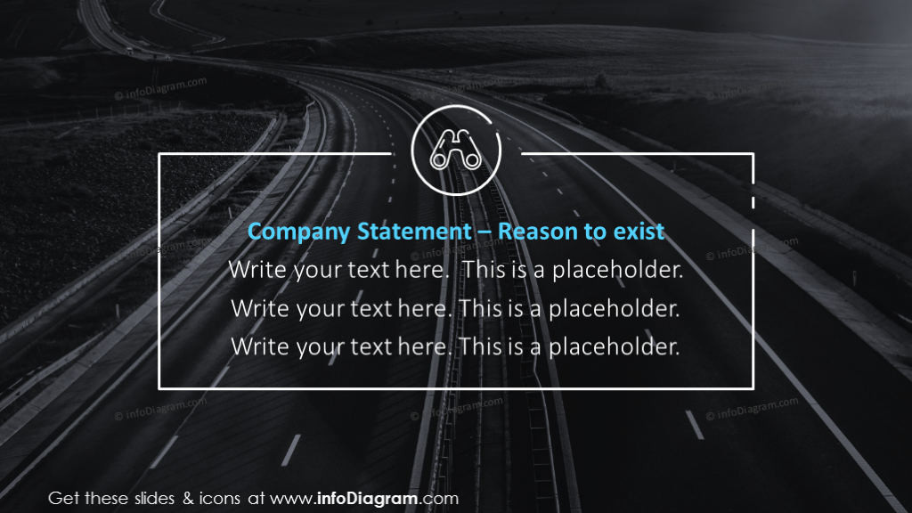 Company statement slide with outline icons on a picture background