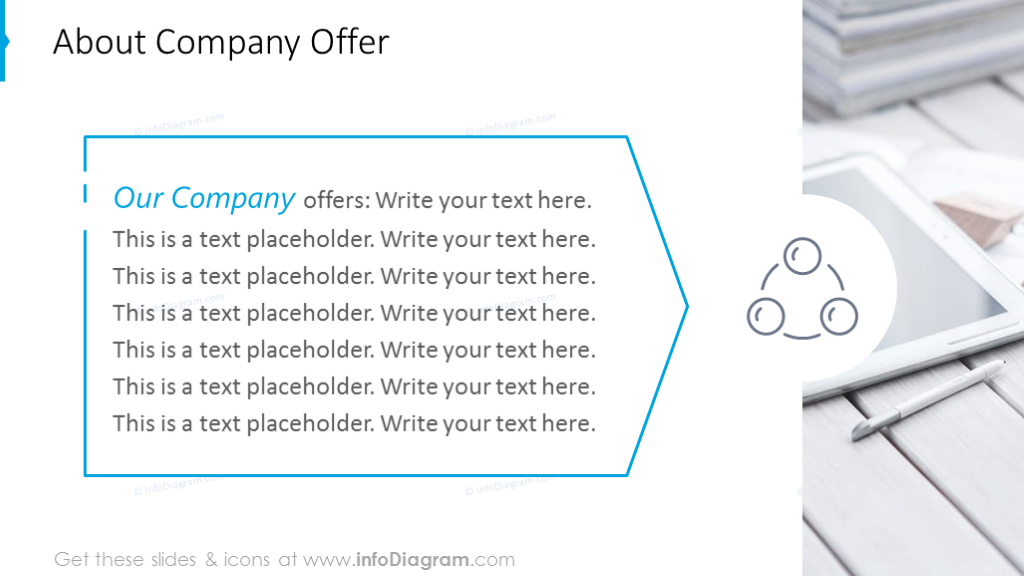Company offer slide with text placeholder and picture background