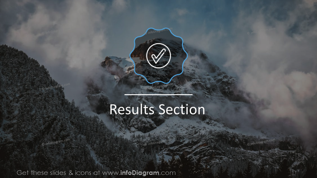 Results section slide on a mountain background with outline icon