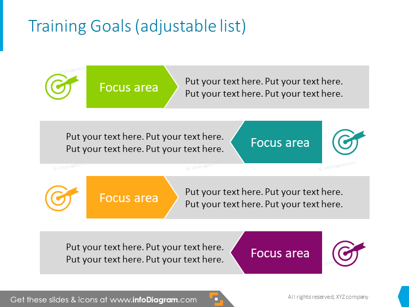 Training goals slide template illustrated with icons and bullet points