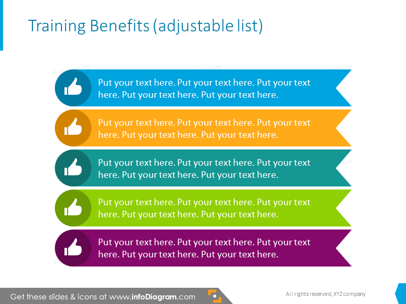 Training benefits showed with colorful list with icons