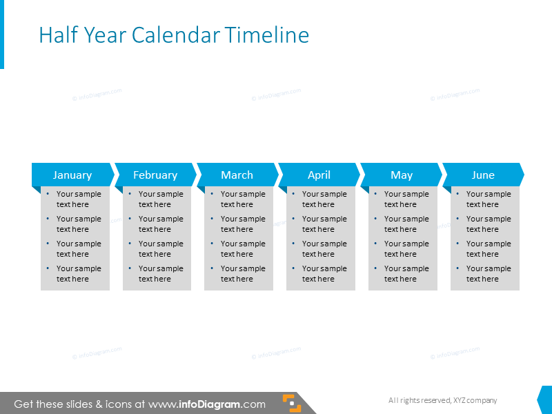 Half a year calendar with bullet points description