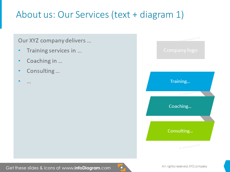 Company's team information illustrated with bullet point