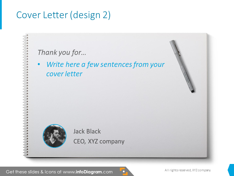 Example of the cover letter illustrated withnotebook