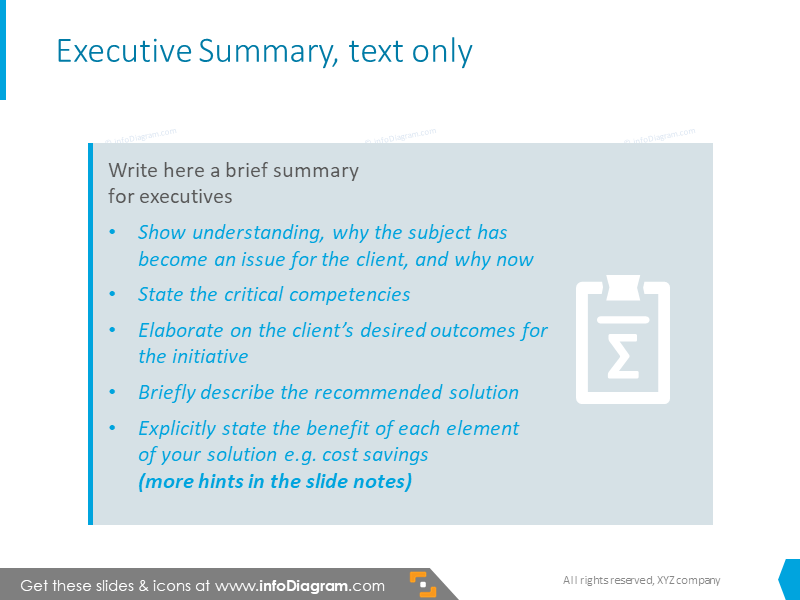 Example of executive summary slide with text box