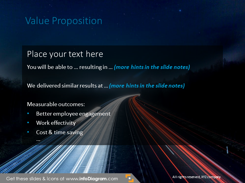 Value proposition slide illustrated with night road background