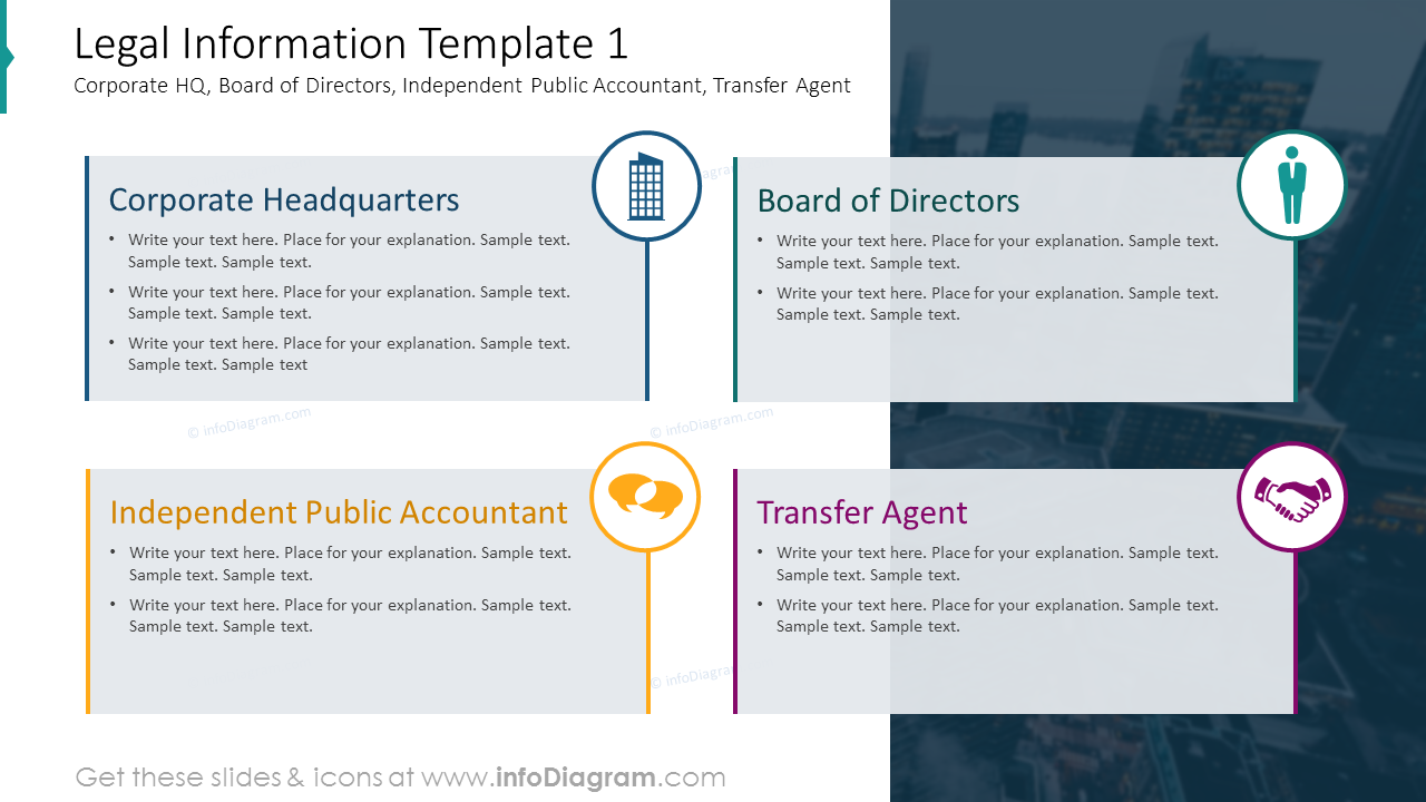 Legal information template with text placeholders and icons