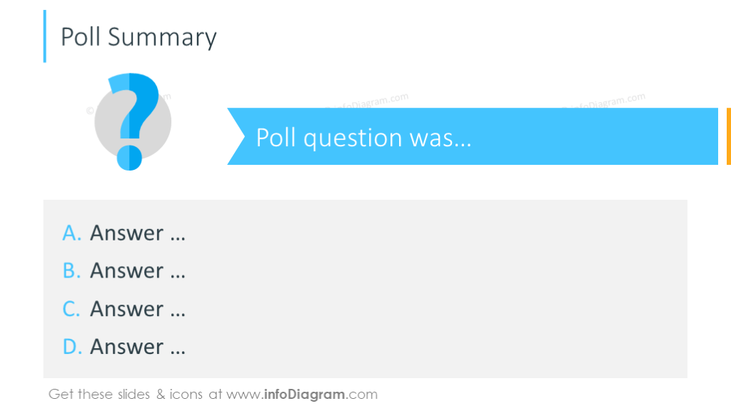 Poll illustrated with icons and bullet points