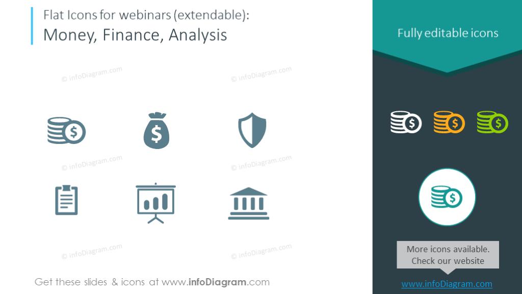 Finance icon set for webinars