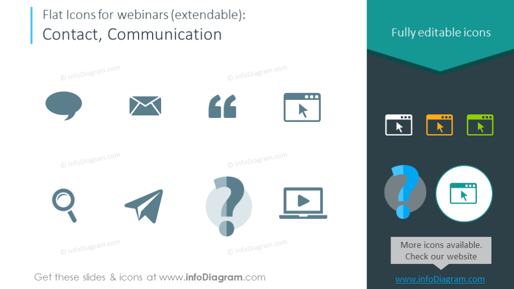Symbols set intended to illustrate contact and communication