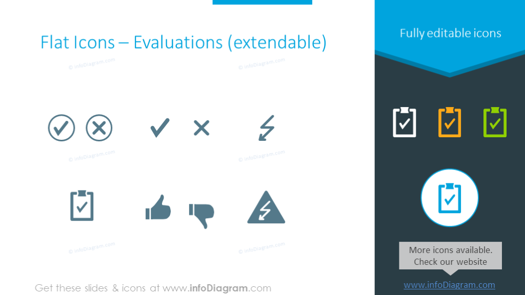 Evaluations icons set