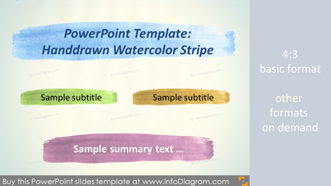 Watercolor Handdrawn Powerpoint Template Pptx Aquarelle Brush Stripe