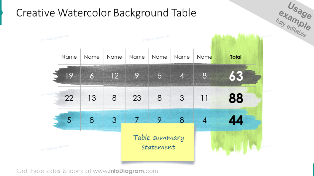 Table on a watercolor background