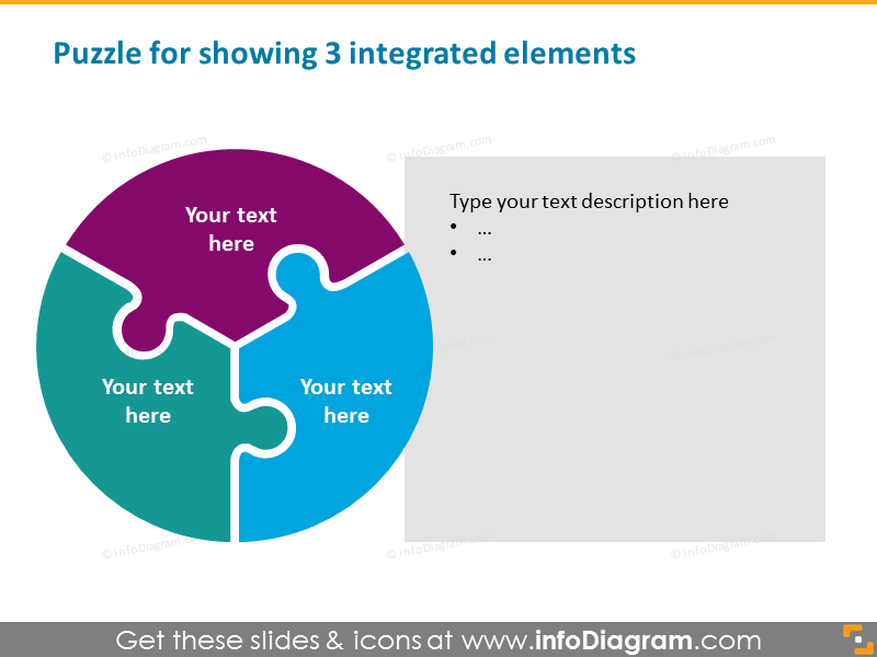 Puzzle with 3 integrated elements
