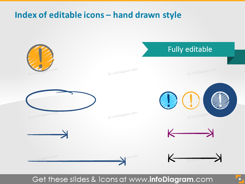 Editable icons index - hand drawn style