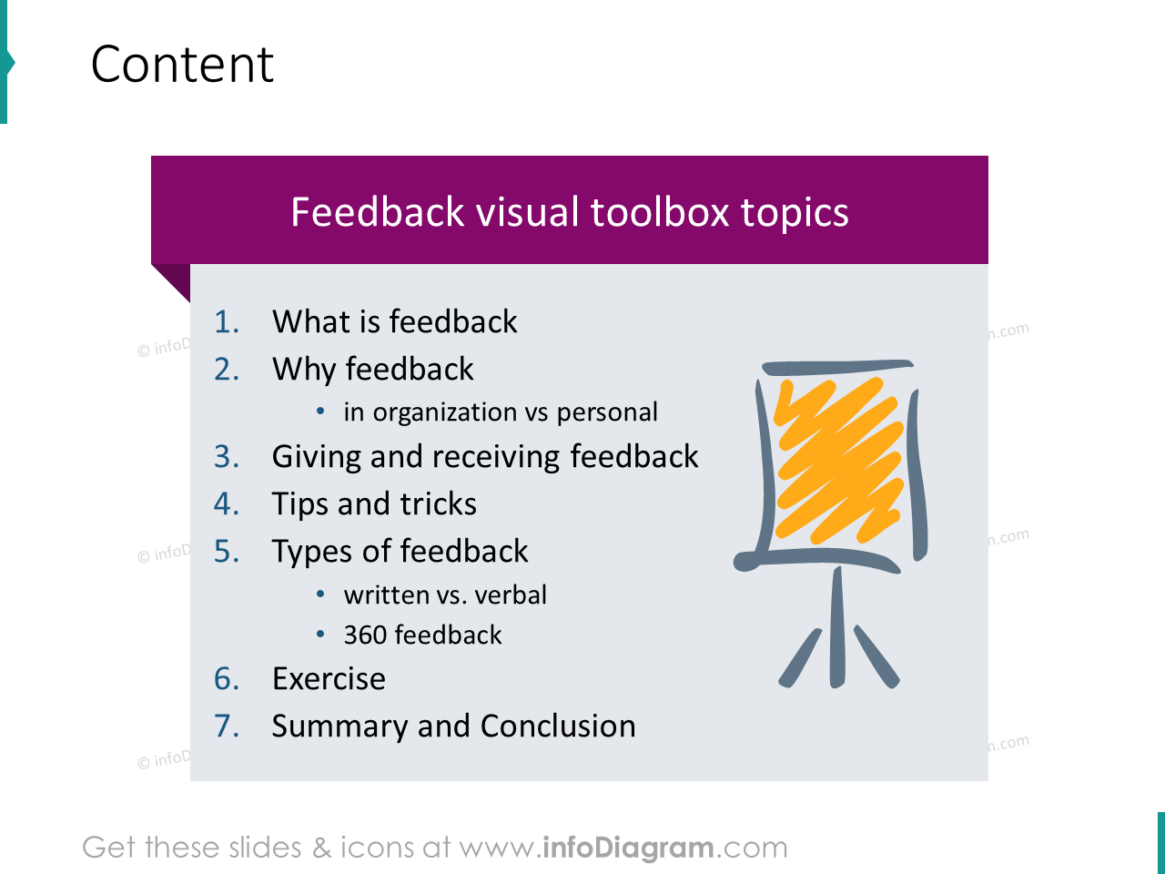 Feedback training content agenda slide powerpoint graphics