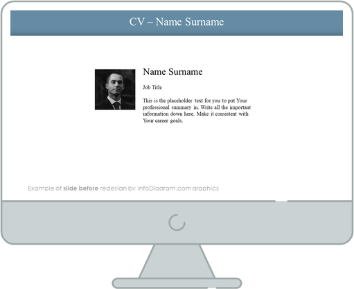 cv name and surname section slide before infodiagram redesign for powerpoint