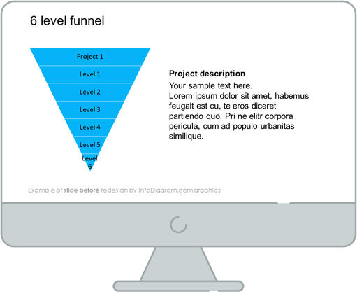 Flat Infographic Funnel Template Slide before redesign