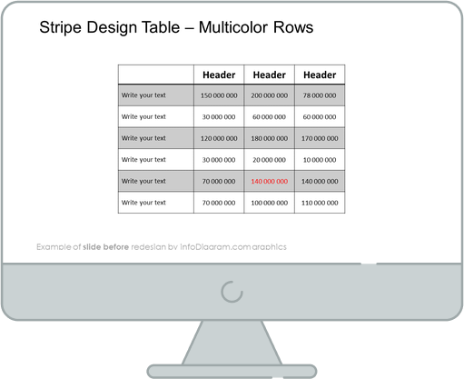 Creative Tables Graphics PPT template before redesign slide