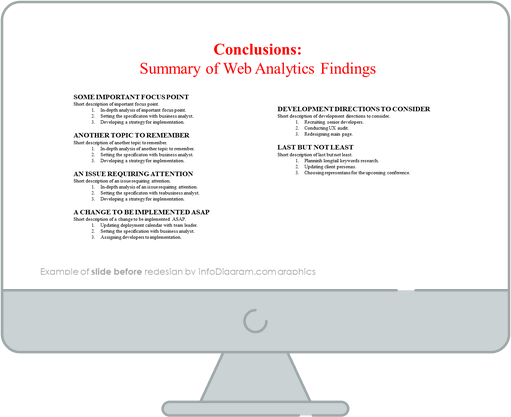 web analytics findings conclusions powerpoint slide before redesign by infodiagram