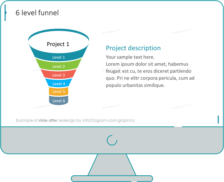 Flat Infographic Funnel Template Slide after redesign