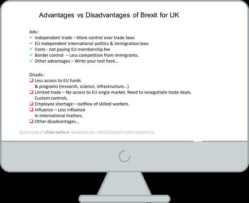 Brexit advantages and disadvantages slide before redesign