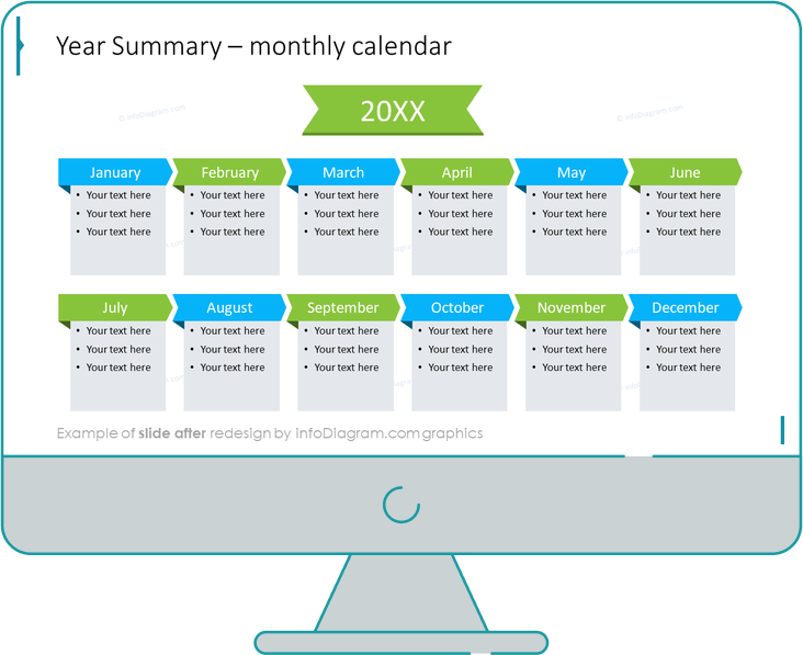Meeting Review Year Summary calendar slide after redesign