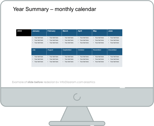 Meeting Review Year Summary calendar slide before redesign